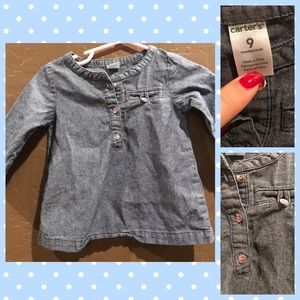 Other - 6 baby items for $15! Denim Shirt 9 Months
